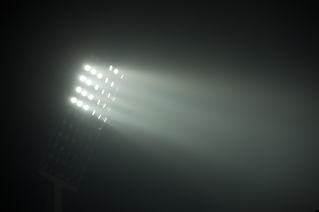 Photo for soccer stadium lights reflectors against black background - Royalty Free Image