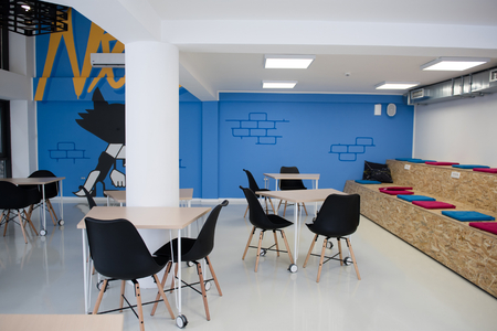 Foto de startup business office interior details, bright modern working space - Imagen libre de derechos