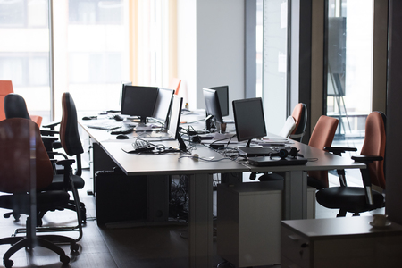 Photo for empty startup office interior with modern computers and  dual screen monitors - Royalty Free Image