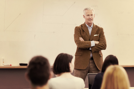 Photo for group of students study with professor in modern school classroom - Royalty Free Image