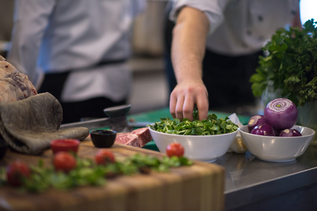 Photo for chef hand serving vegetable salad on plate in restaurant kitchen - Royalty Free Image
