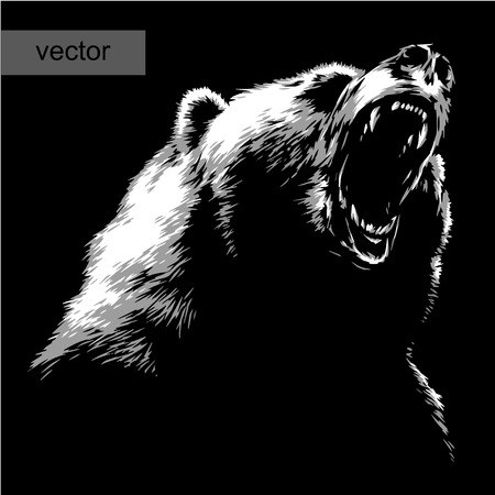 Illustration pour engrave isolated bear vector illustration sketch. linear art - image libre de droit