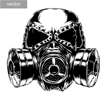 Illustration pour engrave isolated gas mask vector illustration sketch. linear art - image libre de droit