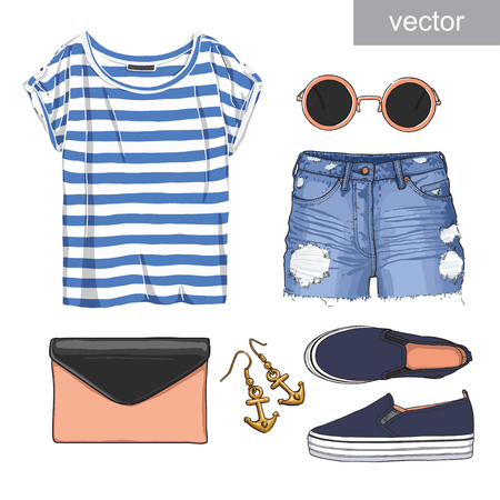 Ilustración de Lady fashion set of summer outfit. Illustration stylish and trendy clothing. - Imagen libre de derechos