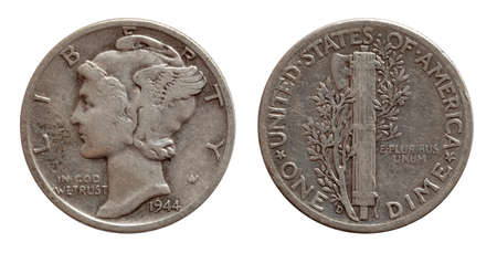 Photo for Dime ten cents US coin silver both sides isolated on white - Royalty Free Image