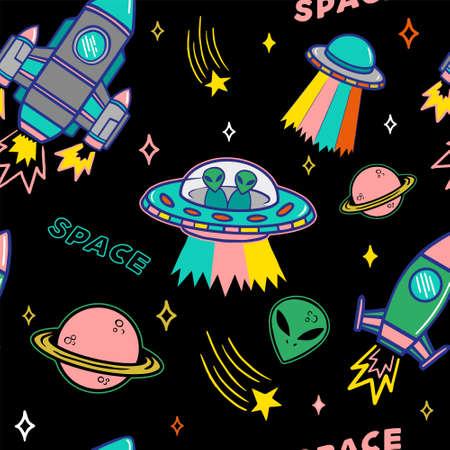 Ilustración de Cartoon colorful set seamless pattern with UFO aliens spaceship planet and stars on dark background. Modern vector illustration print for street wear brand clothes t shirt sweatshirt poster sticker. - Imagen libre de derechos
