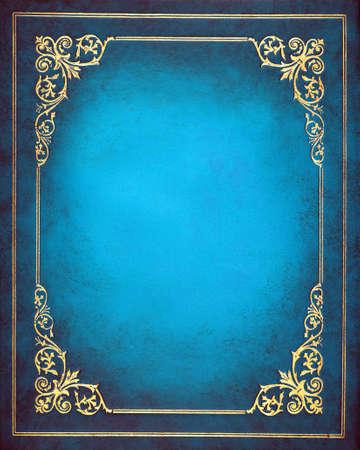 Photo pour Blue and golden  leather book cover - image libre de droit