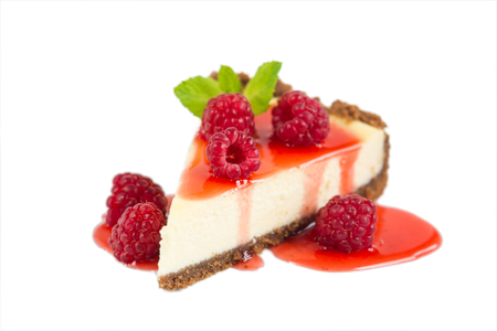 Photo for Raspberry Cheesecake isolated on white - Royalty Free Image