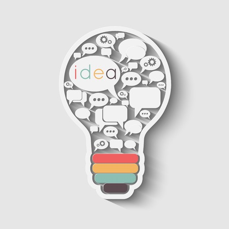 Illustration pour bulb with bubble speech, an idea concept, vector illustration - image libre de droit
