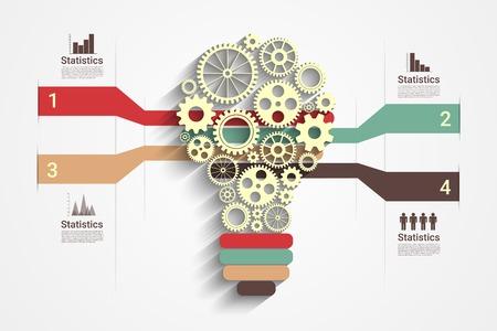 Illustration pour Light bulb with gears as a infographic, Eps10 Vector for your design - image libre de droit