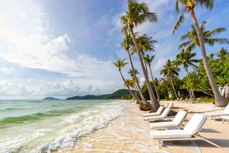 Photo pour Sunbeds under tropical palms on beautiful Bai Sao beach in Vietnam on Phu Quoc island. Beach's smile - image libre de droit