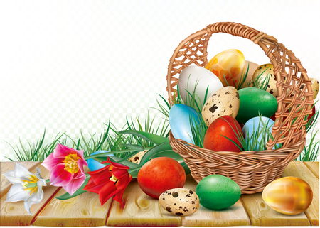 Illustration for Basket with easter eggs is decorated colorful tulips on a wooden background. Vector illustration - Royalty Free Image