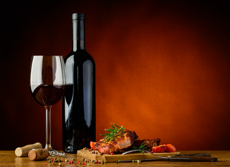 Photo for still life with romantic dinner with gourmet grilled steak and red wine - Royalty Free Image