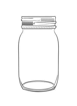 Illustration pour Illustration of hand drawn doodle jar isolated on white background - image libre de droit