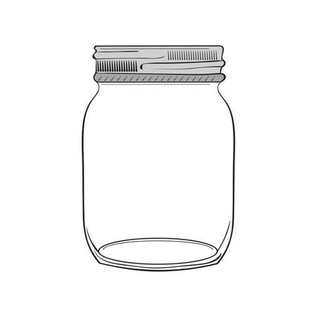 Illustration pour Illustration of hand drawn jar isolated on white background - image libre de droit