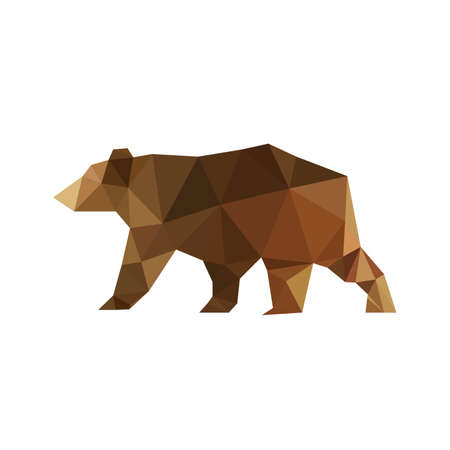 Illustration pour Illustration of modern flat design with origami bear isolated on white background - image libre de droit