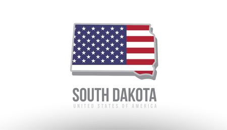 Illustration pour Vector illustration of south dakota county state with US united states flag as a texture suitable for a map logo or design purposes - image libre de droit