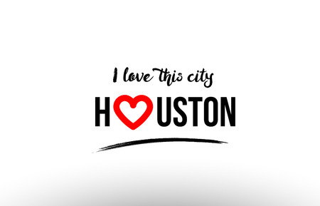 Illustration pour Beautiful typography design of city Houston name logo with red heart suitable for tourism or visit promotion - image libre de droit