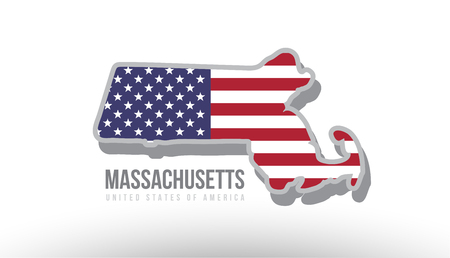 Illustration pour Vector illustration of Massachusetts county state with US united states flag as a texture suitable for a map logo or design purposes. - image libre de droit