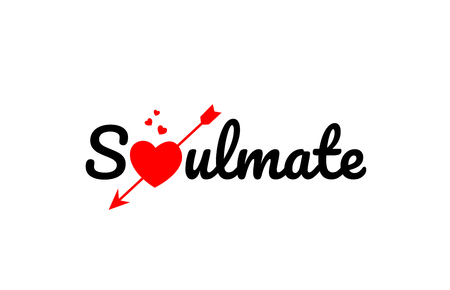 Illustration for soulmate word text with red broken heart with arrow concept, suitable for logo or typography design - Royalty Free Image