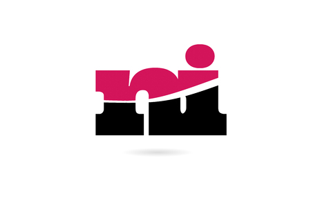ni n i pink and black alphabet letter combination suitable as a logo icon design for a company or business