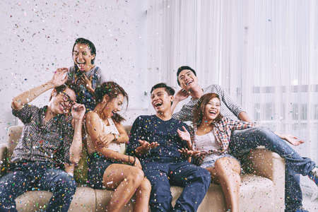 Photo for Group of Asian friends having fun at home party - Royalty Free Image
