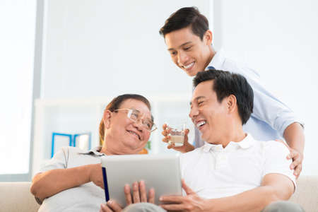 Photo for Angle view of a male family having fun at home on the weekend - Royalty Free Image