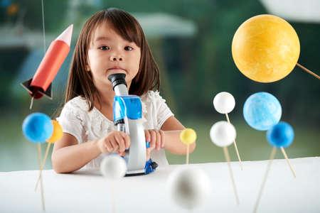 Foto de Portrait of Cute Little Scientist - Imagen libre de derechos