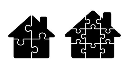 Illustration pour Puzzle House icon set - image libre de droit
