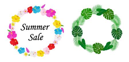 Ilustración de Tropical flowers and leaves decoration frame set - Imagen libre de derechos