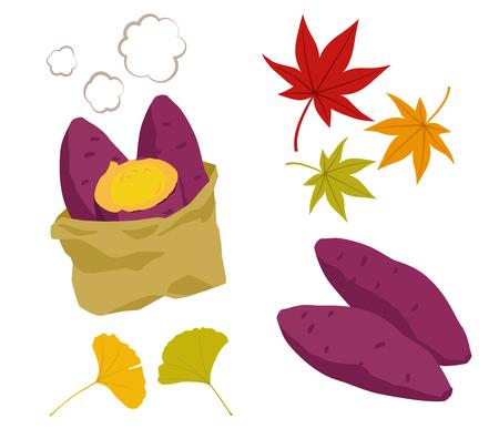 Ilustración de Illustration set of roasted sweet potato and autumn leaves - Imagen libre de derechos