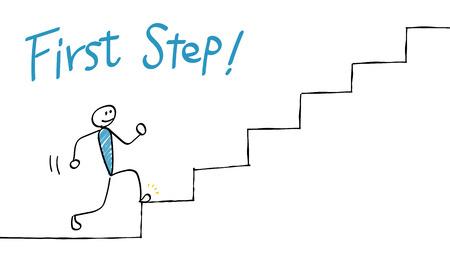 Illustration pour First + Step +% 28Go + up + the + stairs% 29 - image libre de droit