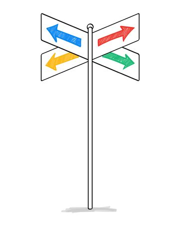 Illustration pour Four arrows road sign material - image libre de droit
