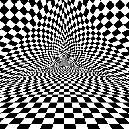 Illustration for Black and white optical illusion triangle vector pattern - Royalty Free Image
