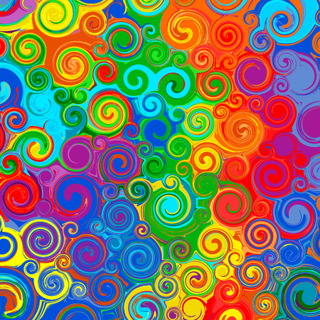 Illustration pour Abstract rainbow curved stripes color line art swirl pattern vector background - image libre de droit