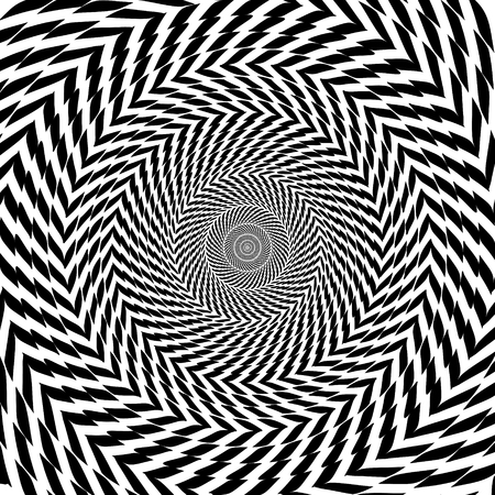Illustration for Vector optical illusion zoom black and white hypnotic background - Royalty Free Image