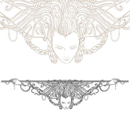 Illustration pour Detailed art-nouveau decorative divider as vintage engraved woman, with close up fragment  - image libre de droit