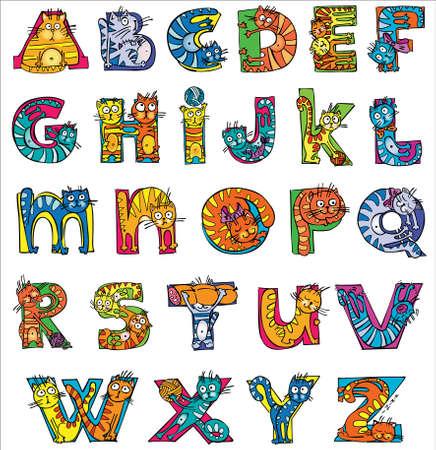 Photo pour colorful funny cat alphabet - image libre de droit