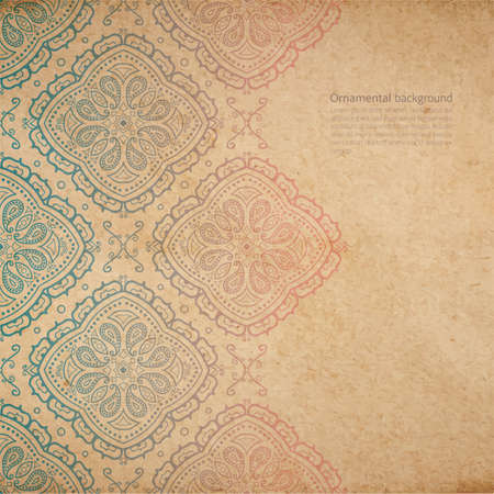 Illustration pour Vector ornate background with copy space, color faded out of time ornament on old cardboard - image libre de droit