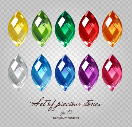Illustration pour Crystals icons set of 10 colors - precious jewelry stones collection on demonstrative transparent gray grid - image libre de droit
