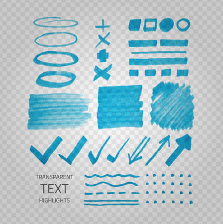 Illustration pour Vector collection of highlighter marker spots and signs, hand drawn decorative symbols, transparent elements on demonstrative gray grid - image libre de droit