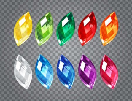Illustration pour Set of transparent gem stones on demonstrative gray grid - image libre de droit