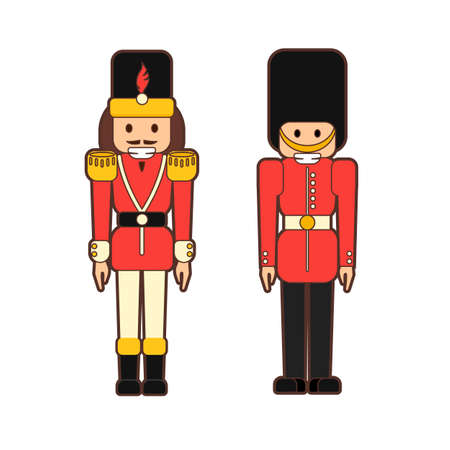 Illustration pour Flat nutcrackers soldiers. - image libre de droit