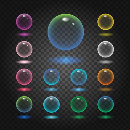 Illustration pour Vector rund glass sphere icons set of 13 colors - transparent soft pastel colored bubbles collection on demonstrative gray grid - image libre de droit