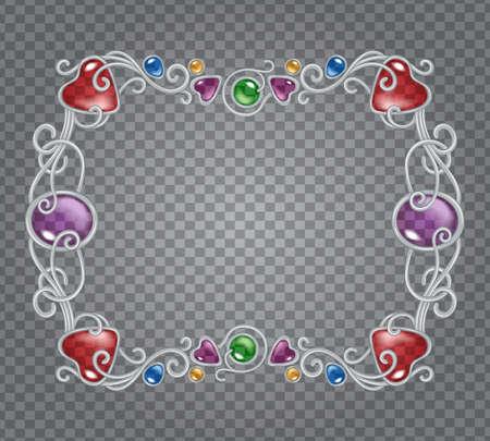 Illustration pour Vector illustration of gemstones and silver frame in fantasy style, for cards, decoration and wedding, on transparent demonstrative grid - image libre de droit
