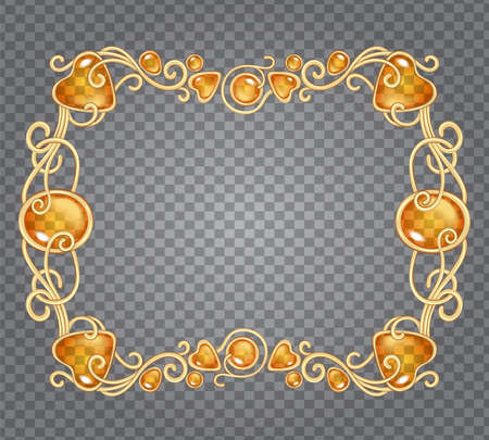 Illustration pour Vector illustration of amber gemstones and gold frame in fantasy style, for cards, decoration and wedding, on demonstrative transparency grid - image libre de droit