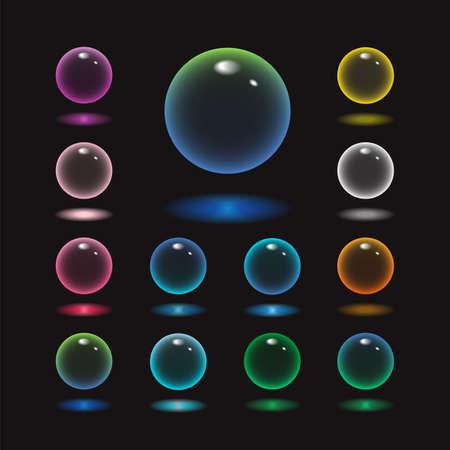 Illustration pour Vector rund glass sphere icons set of 13 colors - transparent soft pastel colored bubbles collection on demonstrative black background - image libre de droit
