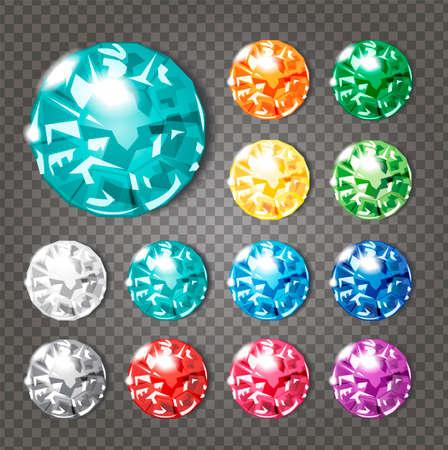 Illustration pour Crystals icons set of 12 colors - precious jewelry stones collection upon demonstrative gray grid, transparent shadows - image libre de droit