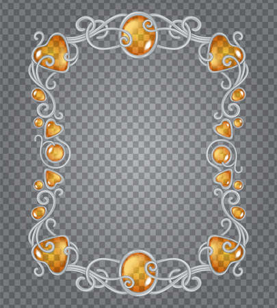 Illustration pour Vector illustration of transparent amber gemstones and silver frame in fantasy style, for cards, decoration and wedding, on demonstrative transparency grid - image libre de droit