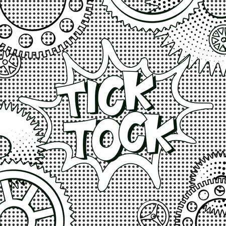 Ilustración de illustration in retro mid century comic books style - tick-tock words in frame of clock gears on black and white halftone background - Imagen libre de derechos